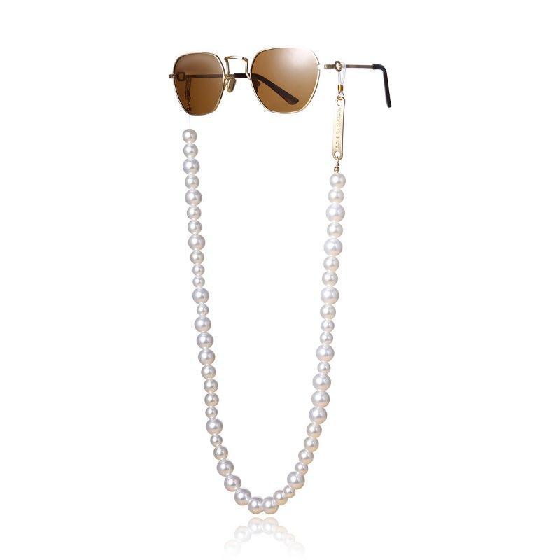 Kauçuk Halka Toptan ile Metal Etiket Gözlük Zinciri Fix ile 2020 Yeni Moda Büyük Yapay İnciler Kadınlar Güneş Zincirler