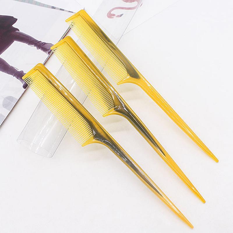 Herramientas de res tendón de Sharp Tail Peine largo mango de plástico resina natural del cuerno del buey peine cuidado del cabello portátil Accesorios para Cabello