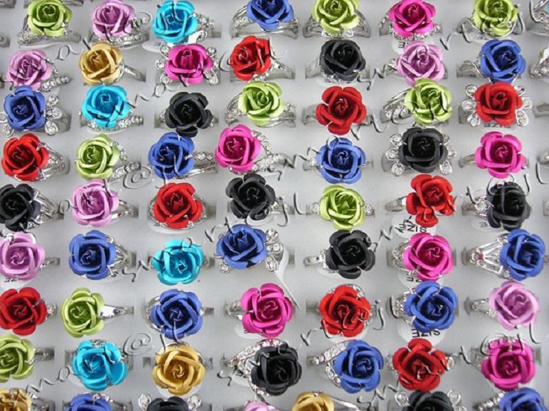 Charme fleurs colorées strass Rose gros anneaux Bijoux Fantaisie Bague New Lots 30pcs / lot