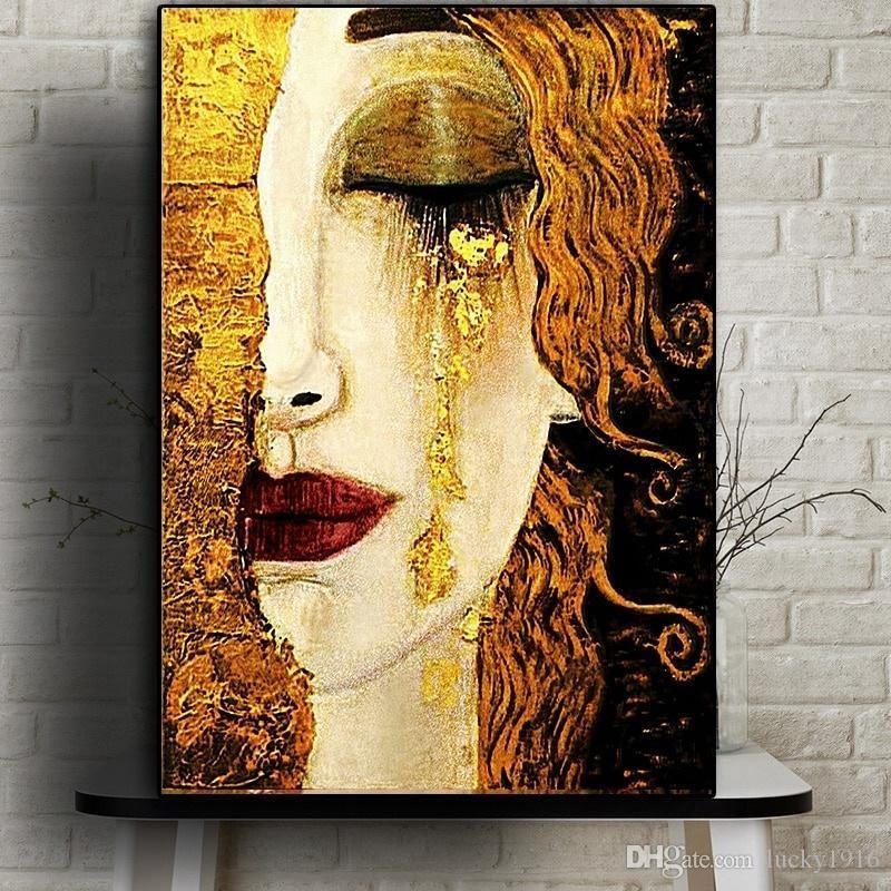 Salon Ev Dekorasyonu için Gustav Klimt Klasik Artwork Duvar Tuval Afiş ve Baskılar Modern Duvar Pictures tarafından Özet Gözyaşı Yağlıboya Resim