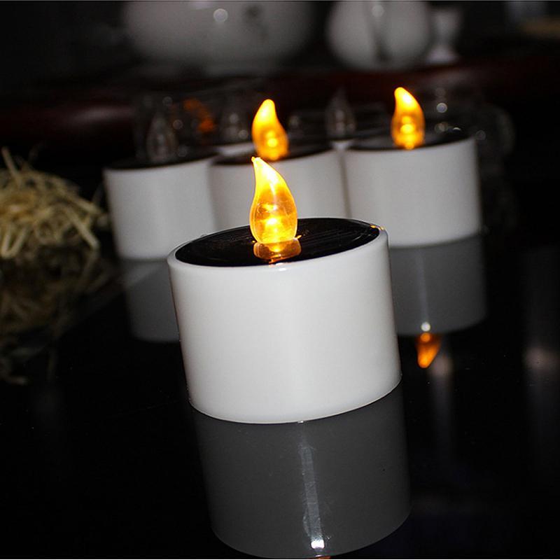 야외 웨딩 크리스마스 할로윈 파티 장식을위한 LED 양초 태양 양초 빛 불꽃없는 초 점멸 방수 촛불 조명