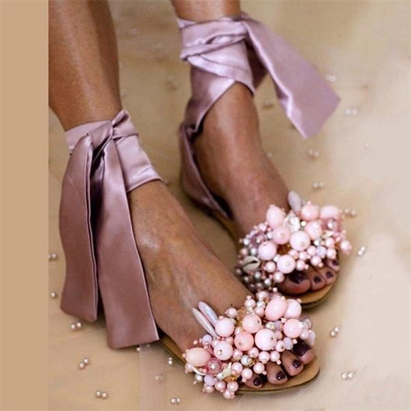 2020 Women Beaded Sandals Ankle Strap Ladies Lace Up String Handmade Flat Beach Shoes Female Fashion Footwear Plus Size 35-43 0925