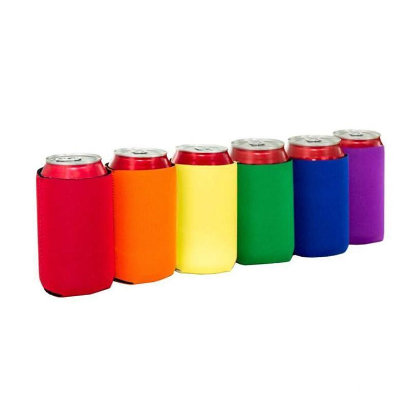 Wholesale Many colors Blank Neoprene Foldable Stubby Holders Beer Cooler Bags For Wine Food Cans Cover DHL Free