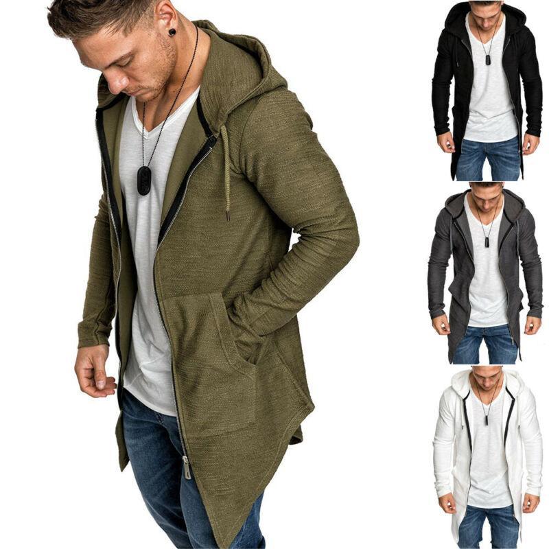 Caliente de la capa con capucha hombres Outwear Jumper foso del invierno de la cremallera de manga larga Capa masculino de la capa de Calle