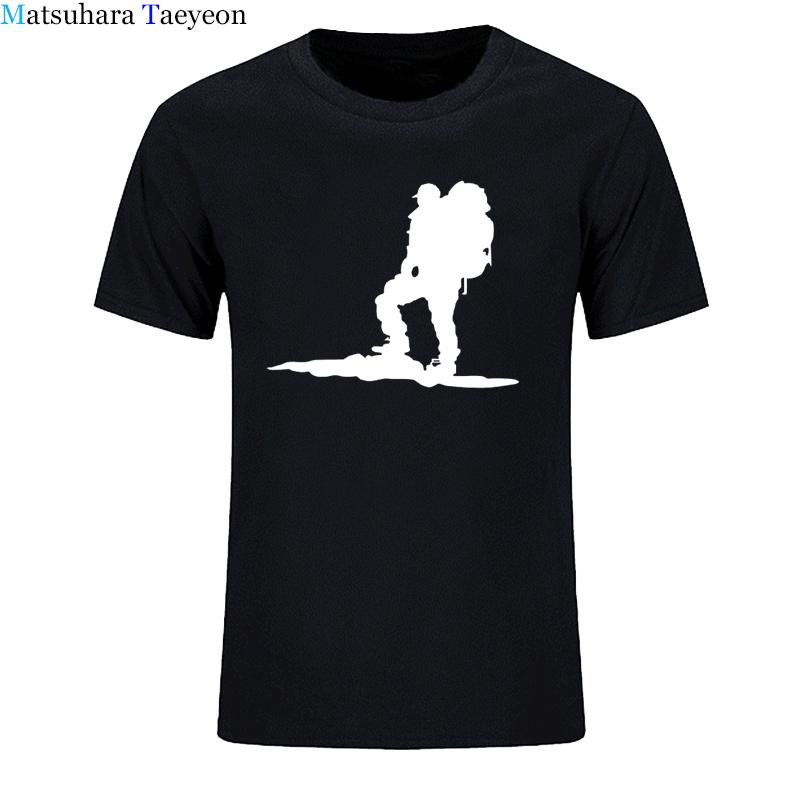 Collar mochila Caminante Hombres Ronda de manga corta de la camiseta del hombre de la novedad de la Ronda de algodón T remata camisetas Ropa casual de impresión camiseta