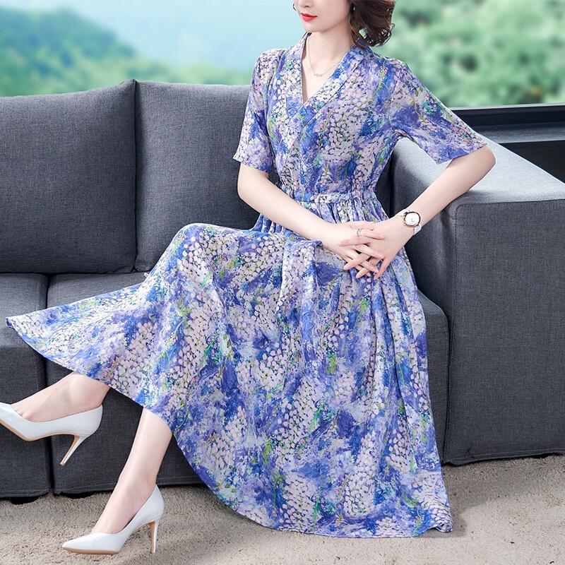 aCYyM Floral para as mulheres vestido de flores 2,020 Verão luz nova moda madura elegante francês cintura emagrecimento V-neck vestido de grande tamanho
