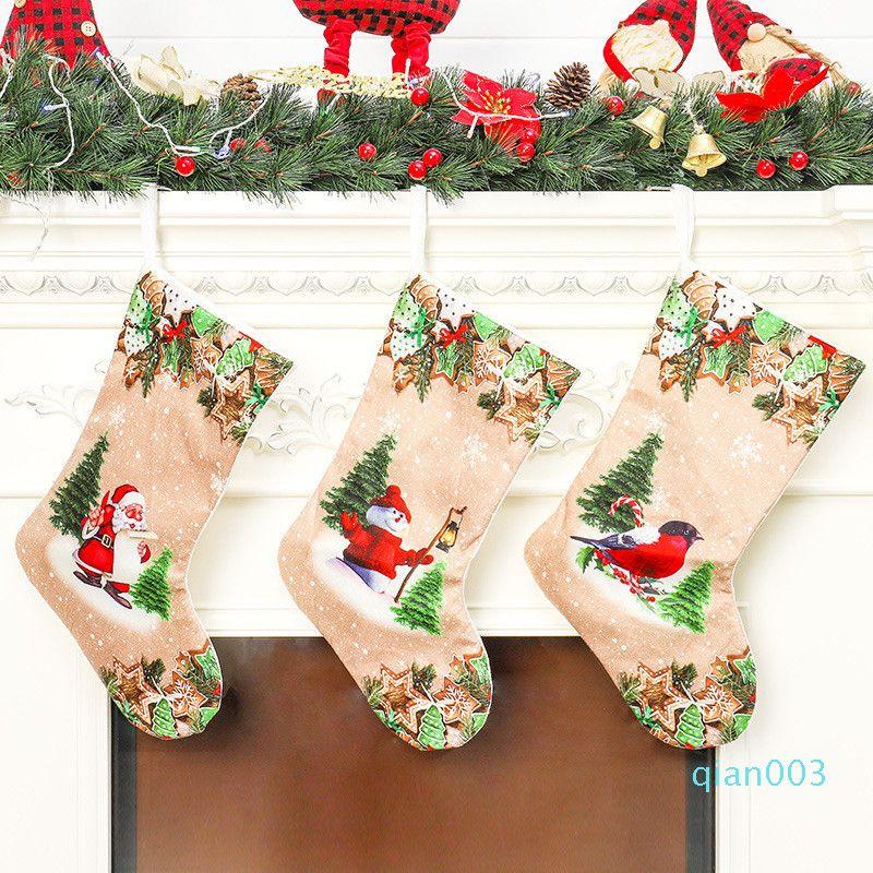 Noel çorap 20 inç Santa Kardan Adam Noel Asma çorap Dekorasyon Çorap Noel çorap Şeker Hediye Çanta 50pcs T1I2217