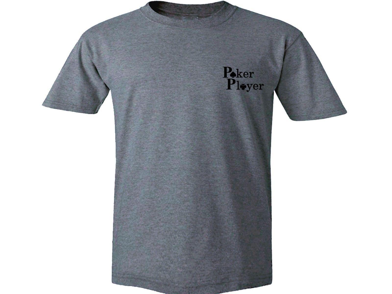 2019 Poker Player divertente gioco d'azzardo carte grafico grigio 100% Top Graphic T-shirt in cotone