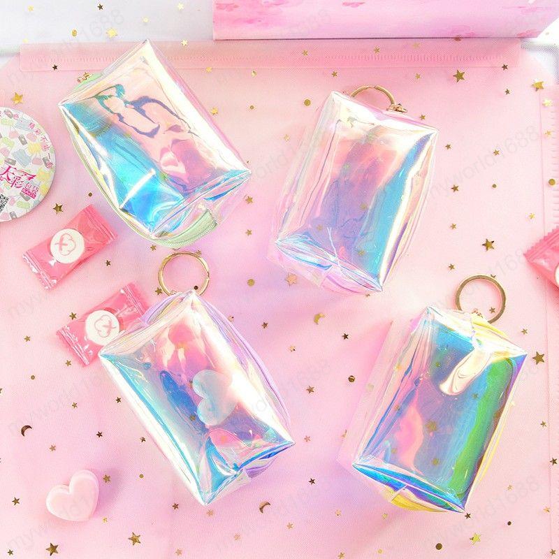 귀여운 캔디 컬러 미니 지갑 여성 어린 소녀 레이저 작은 동전 지갑 파우치 가방 가와이이 지우기 돈 변경 지갑 키 체인