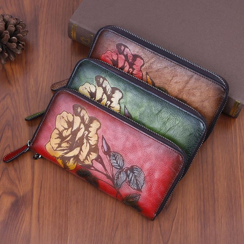 Новая оштукатуренная кожа долго молнии печати цветной полировки стиля молнии кошелька женского кошелька