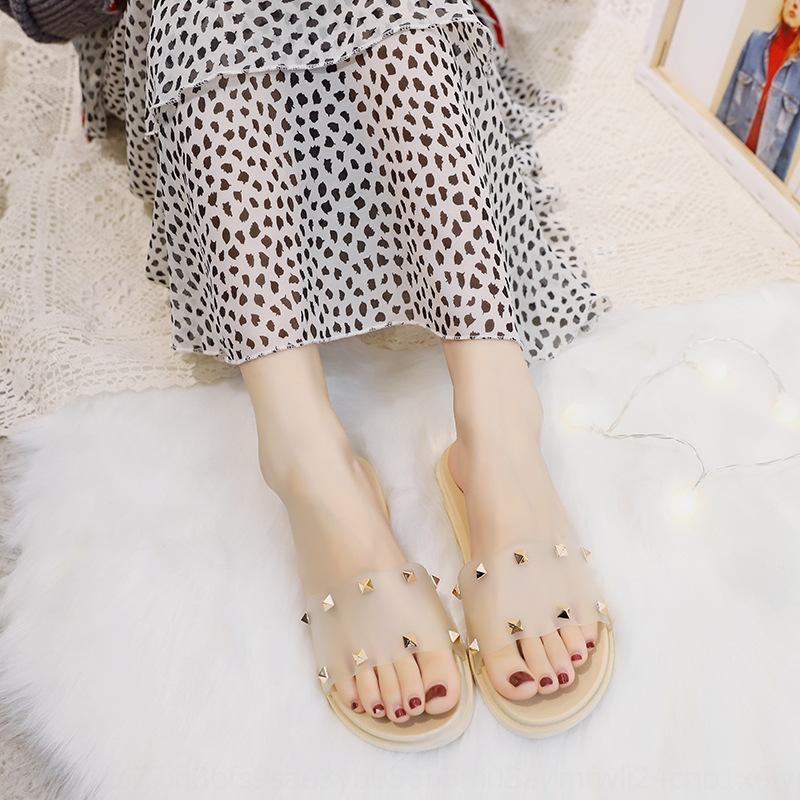 женский наружных пальто износа заклепка моды тапочки летом пляж желе обуви плоских тапочек не скользят