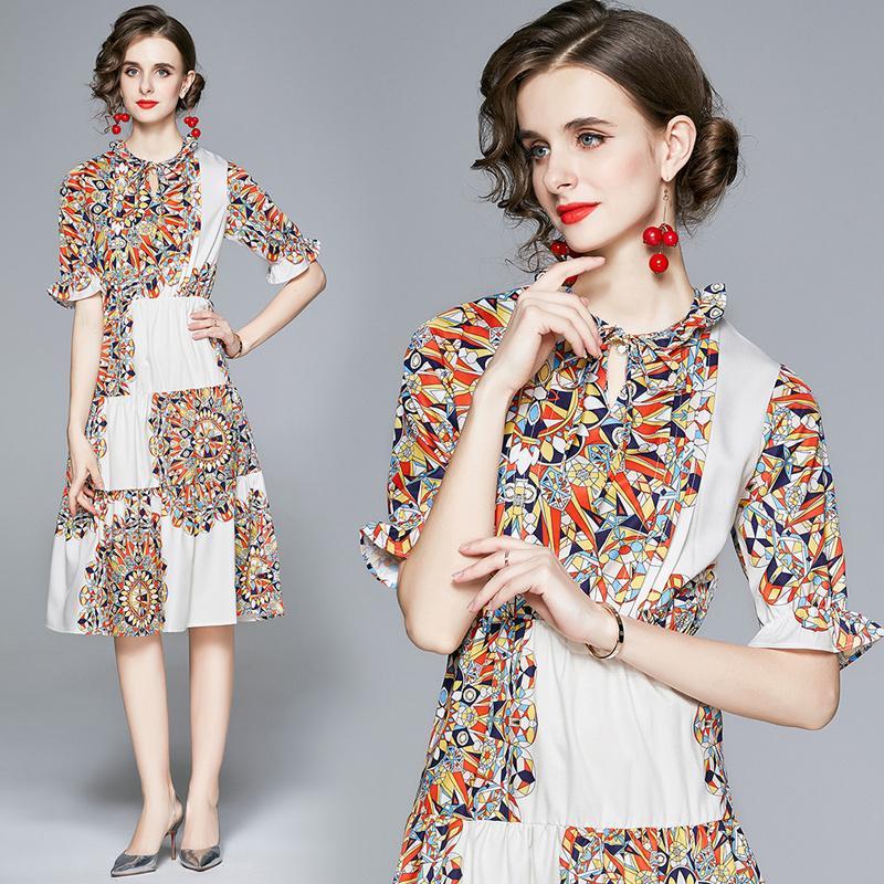 Yeni Yaz Pist Vintage Baskı Ruffled Boyun 1/2 Yarım Kol İmparatorluğu Bel Kadınlar Bayanlar Casual Parti OL Plaj Ofis A-Line Midi Elbise