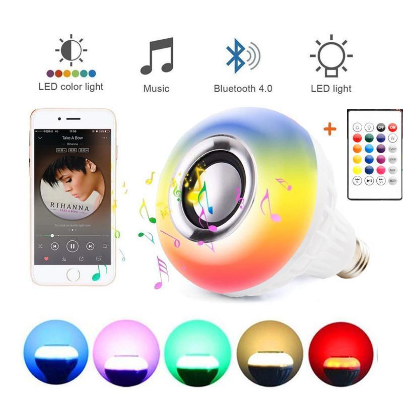 E27 Смарт RGB RGBW беспроводной Bluetooth спикер лампы 110V 220V 12W Светодиодная лампа плеера диммирования Аудио 24 кнопок пульта дистанционного управления