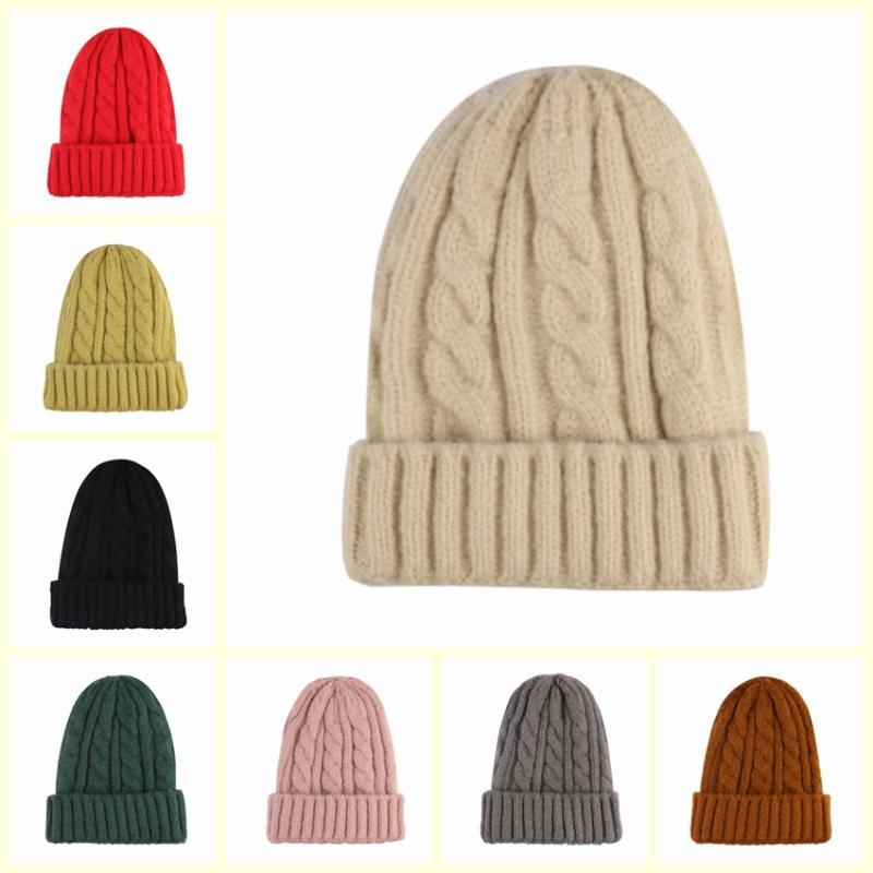 FOXMOTHER New Outdoor Beige Red Grey Plain Color Braid Beanie Knitted Hats Warm Winter Caps Women Mens