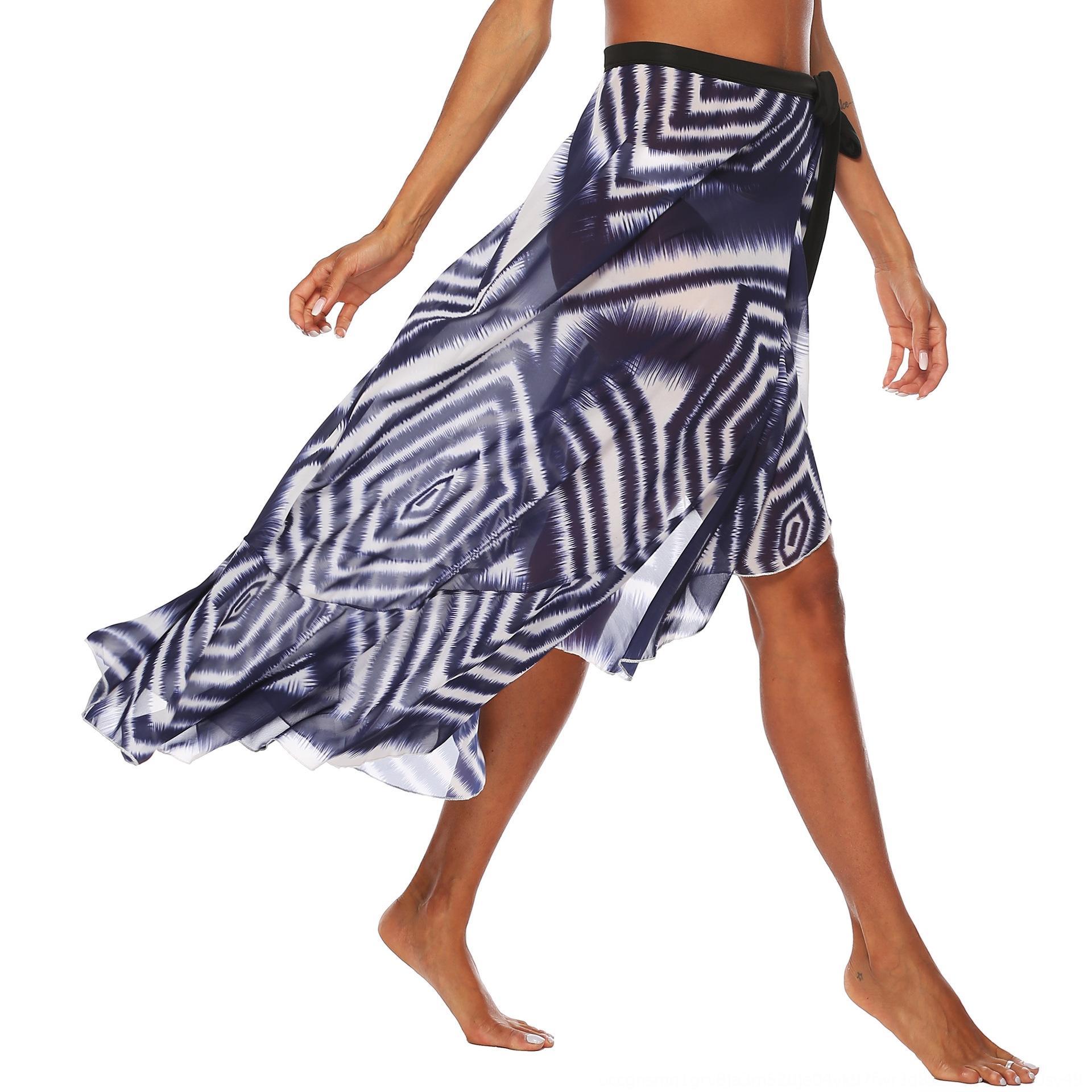 여성의 추상적 인 인쇄 해변 레이스 쉬폰 불규칙 flounced 레이스 비치 스커트 섹시 190,550 스커트