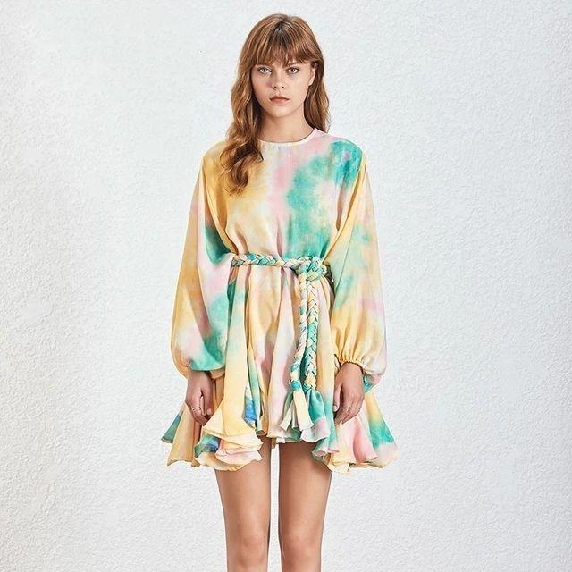 Хит цвета печати платья Женщины Длинные рукава O шеи высокой талией Узелок Женщины платье Весна Повседневная мода 2020 Tide
