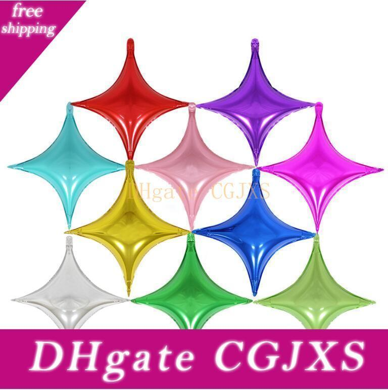 Hot Beautiful Four -Pointed Star Aluminium Coating Balloons Kids Toys Happy Birthday Party Wedding Gifts Decorations Free Shipping