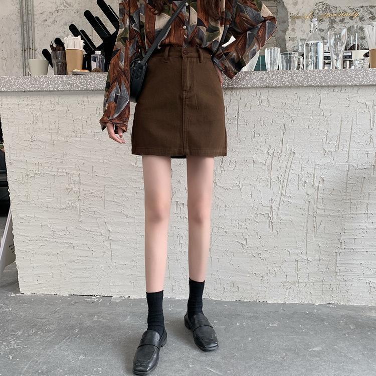 2020 Frühling-neue koreanische Art schwarz A- LINE Denim Denim hohe A- Linie beiläufige Hüfte Taille weibliche Studenten Rock Rock B9CMq