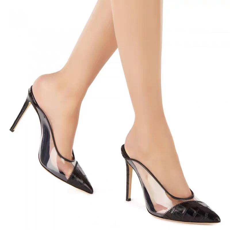 MKKHOU Mode-Absatz-Sandelholz Frauen 2020 neue spitzen transparent Sling 12cm offene Schuhe Schuhe Frauen Größen 5-14