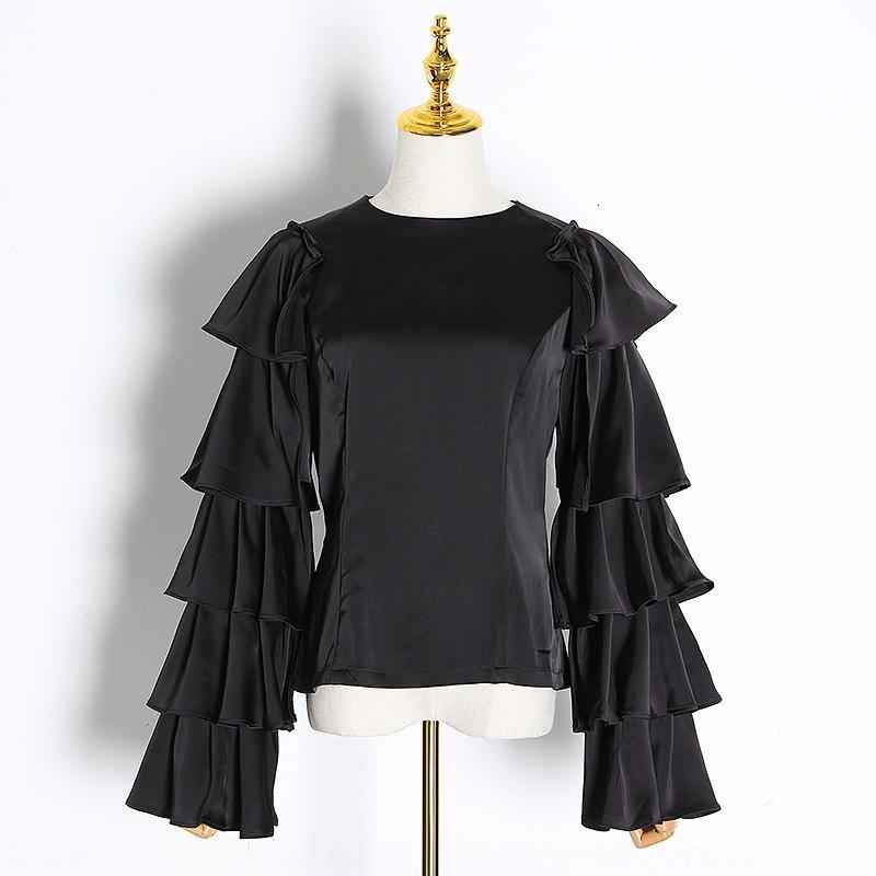 nWxBN дизайн футболки 2020 новый элегантный Топ Socialite сложенный рукав рубашка трепал сплошной цвет Ниша верхней женскую моды