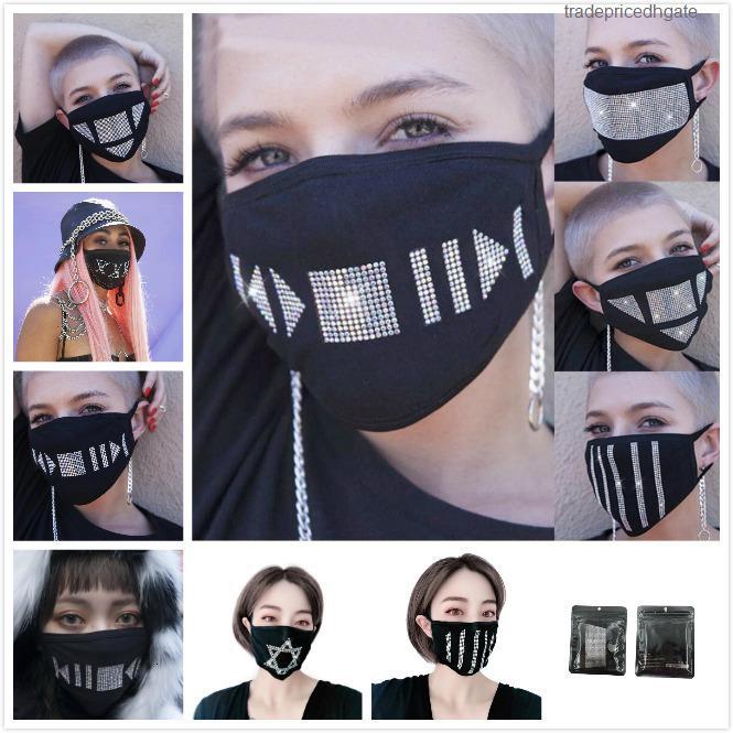 Защитные РМ2,5 Rhinestone блестки Мода Bling пылезащитный чехол моющийся Многократное маска Упругие ушной Mouth маски