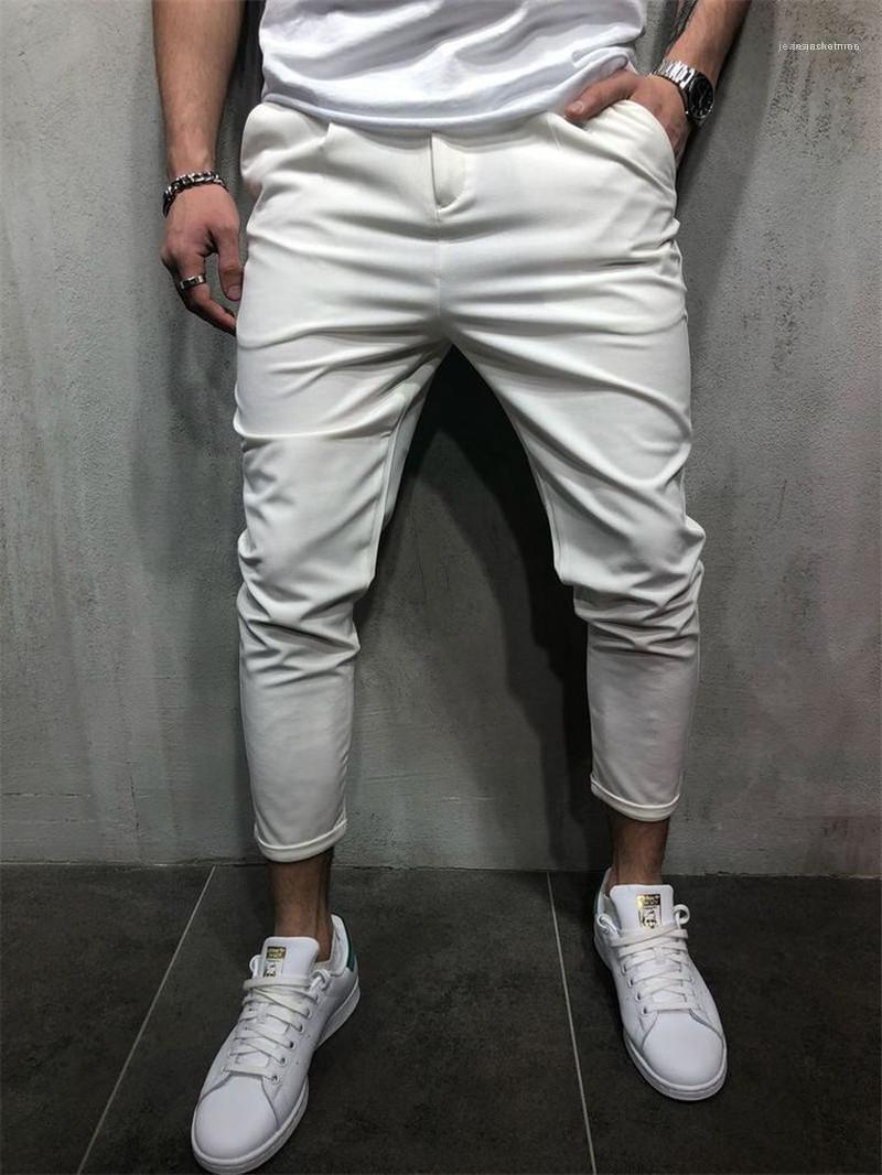 Kleidung mit Taschen beiläufige Homme dünne Hosen der Männer Designer-Bleistift-Hosen Fashion Solid Zipper Fly Herren