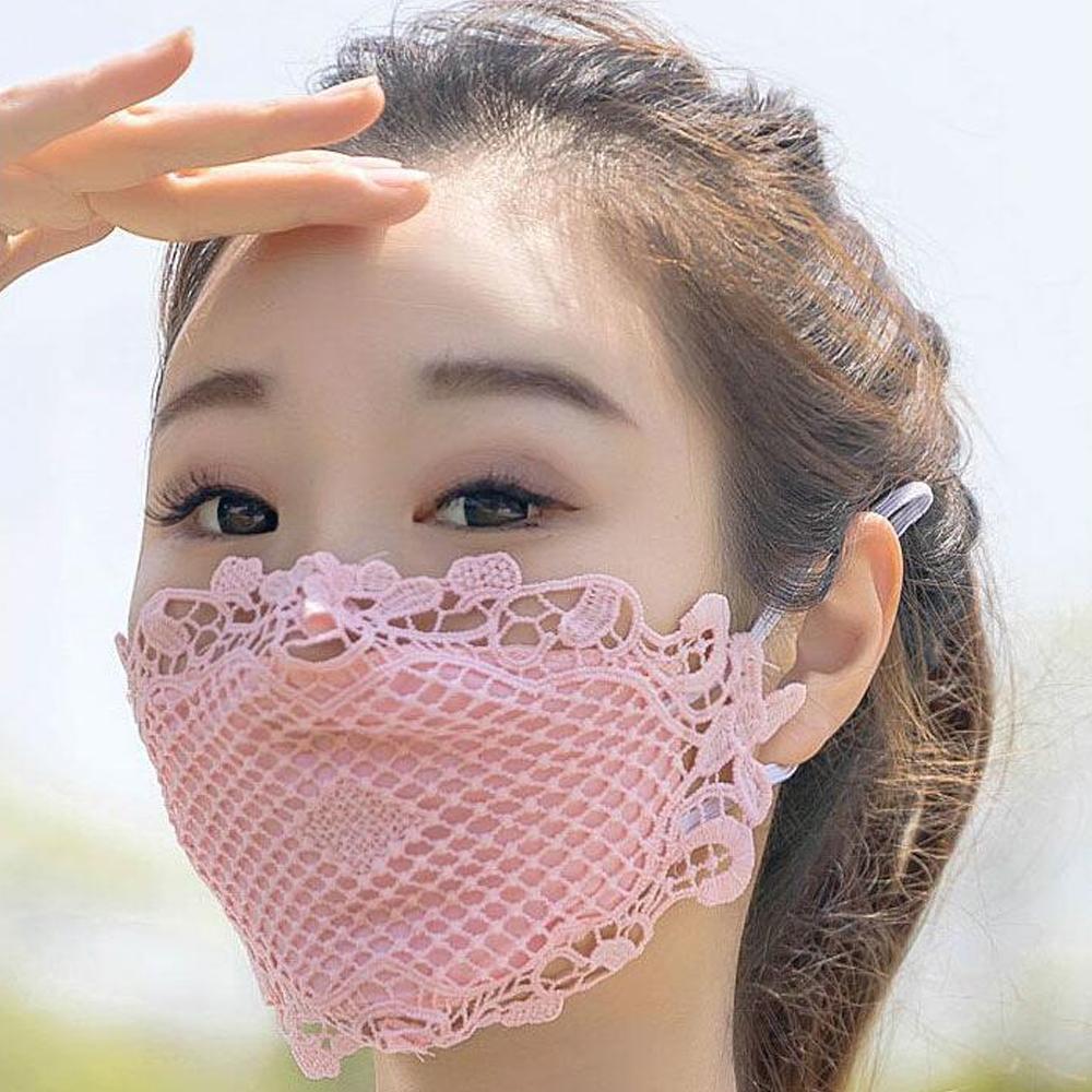 قناع الوجه الدانتيل الواقي مع مرشح جيب 100٪ قطن قابل لإعادة الاستخدام قابل للغسل
