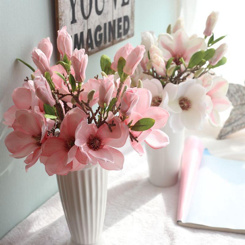 Flores decorativas guirnaldas 1 pc artificial flor de seda fake hoja magnolia boda fiesta decoración casera decoración orquídea