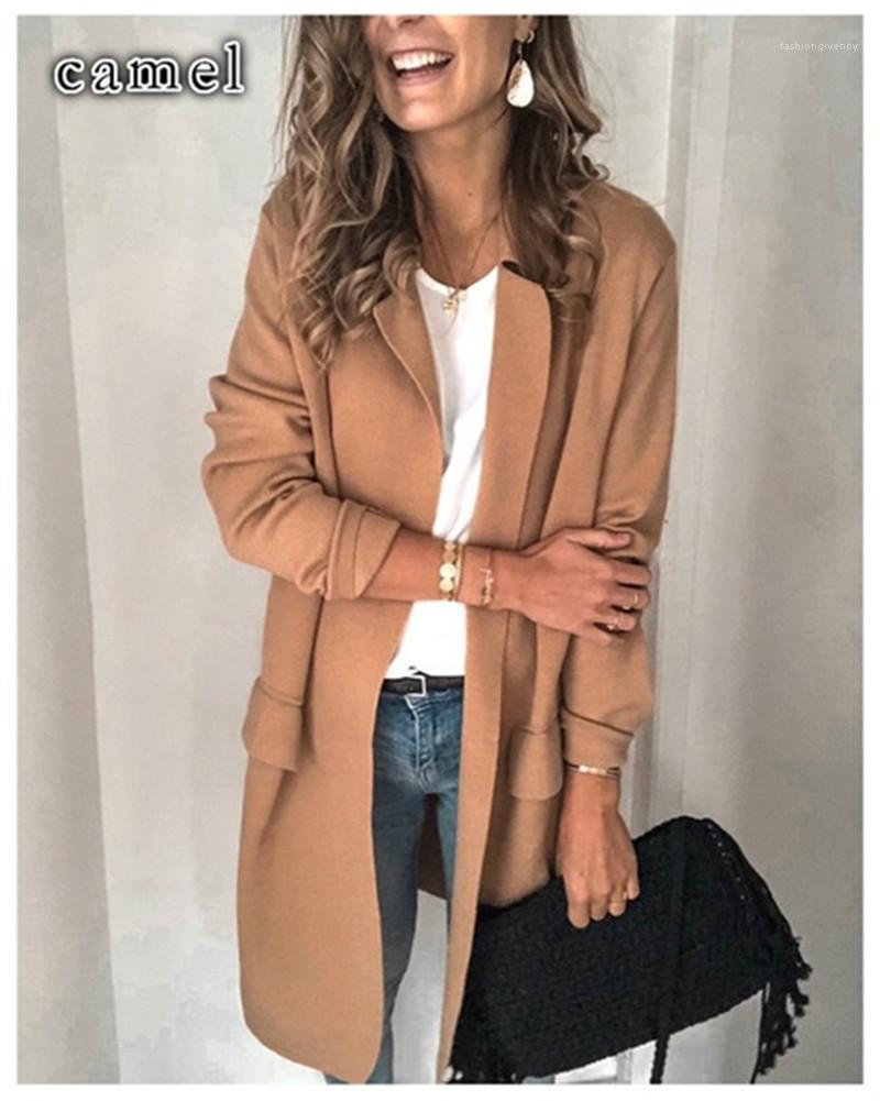 Blazers Loose sólidos falsos bolsillos de solapa cuello de color impresa chaquetas de OL señoras del estilo de ropa para mujer otoño de diseño