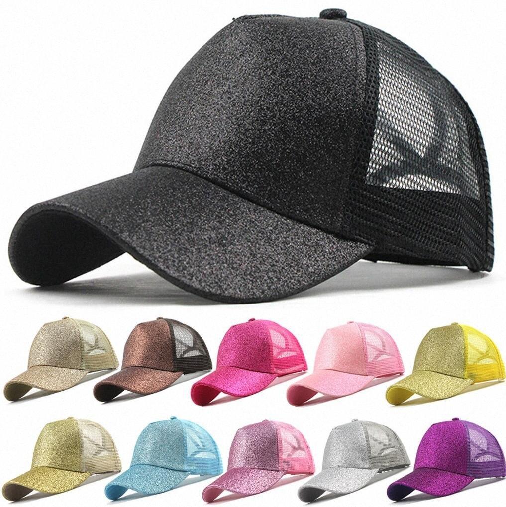 Glitter at kuyruğu Snapback Baba Şapka Kadınlar Dağınık Bun Yaz Hat Ayarlanabilir Şapka Mesh Trucker Parti Şapkası vR0E # Caps