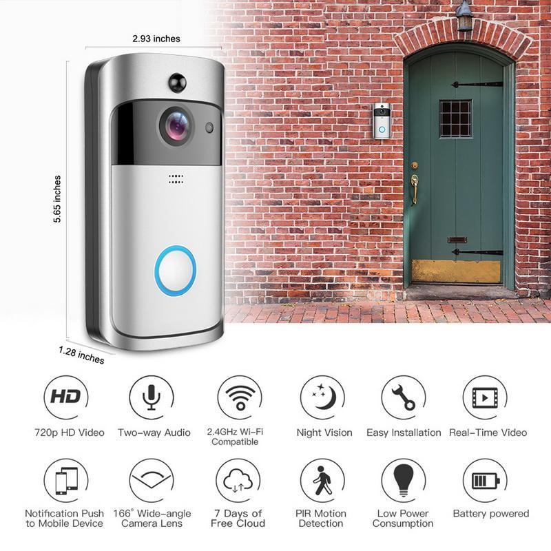 V5 Smart WiFi Video-Türklingel-Kamera-visuelle Gegensprechanlage mit Nachtsicht-IP-Türklingel Wireless Home-Überwachungskamera