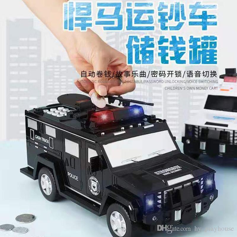 Fingerprint senha dinheiro Truck Car Electronic Music Piggy Bank papel moeda depósito em dinheiro máquina de moeda Saver Transporter Kids Brinquedos