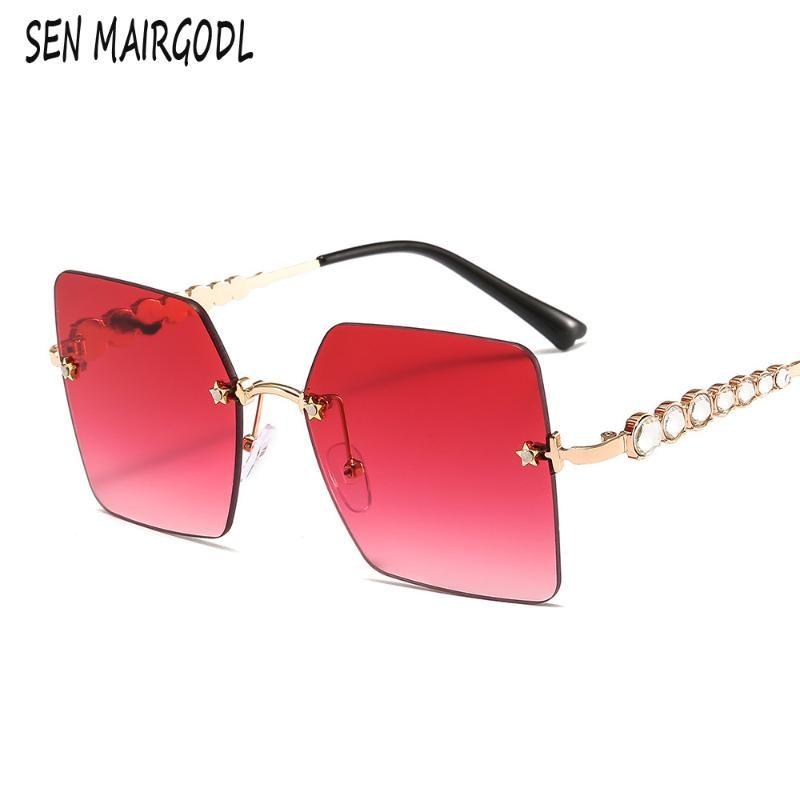 mode classique carré lunettes de soleil femmes sans cadre men2020 jambes Temple avec le soleil diamants lunettes VU400 accessoires en gros
