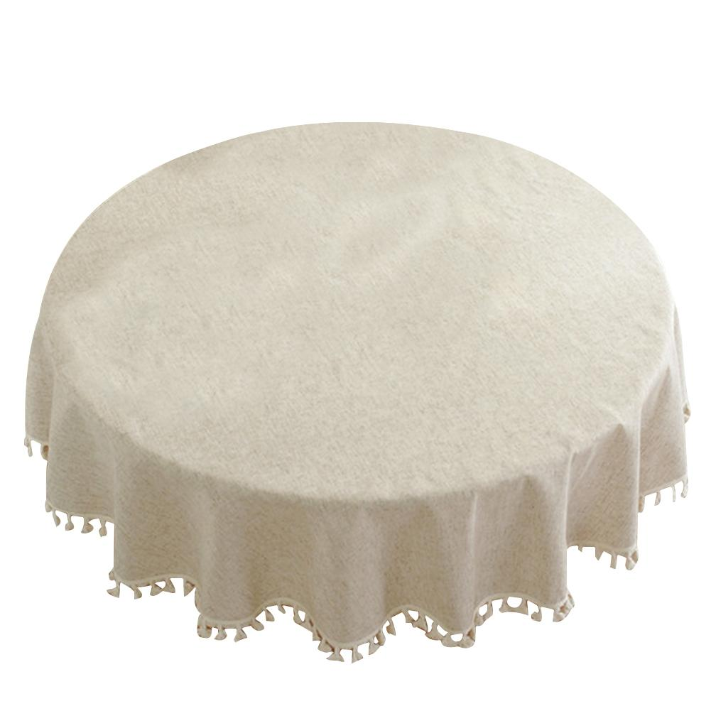 Nordic Style Solid Tassel Decorative Table Cloth Hotel Round Cotton Linen Daily