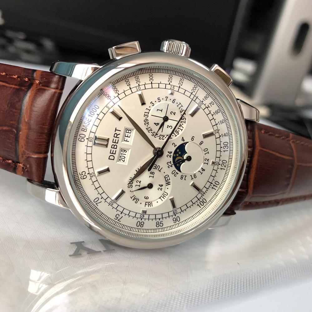 Top Brand 42 millimetri debert orologi da polso meccanici luna Fase quadrante bianco uomini della vigilanza Argento Anno Giorno Mese Settimana 316L SS automatico cassa T200812