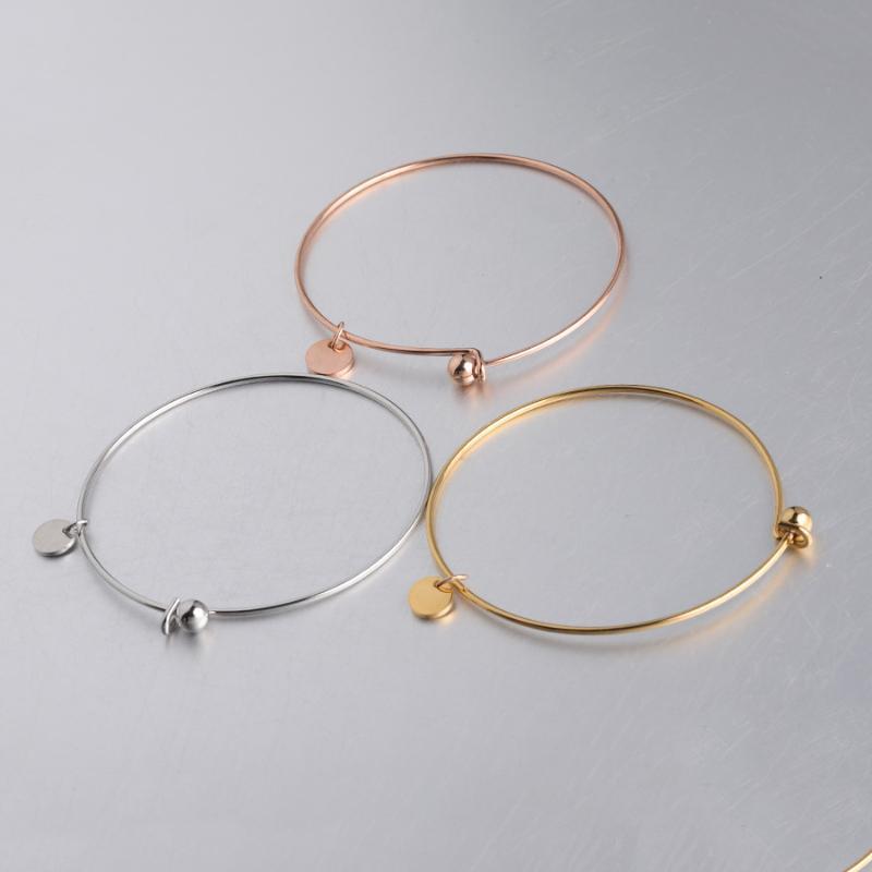 100% Edelstahl Erweiterbare Öffnen mit 8mm Blank Metall Tag-ID-Armband Spiegel poliert 10pcs