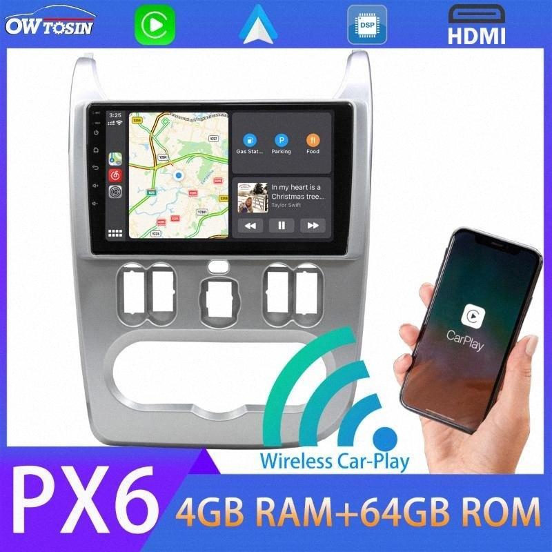 Android 9.0 PX6 4GB + 64GB Car Multimedia Player GPS Radio Para Logan 1 Sandero Lada Largus Dacia 5 * USB Auto Stereo Car DVD portátil Car Nglc #