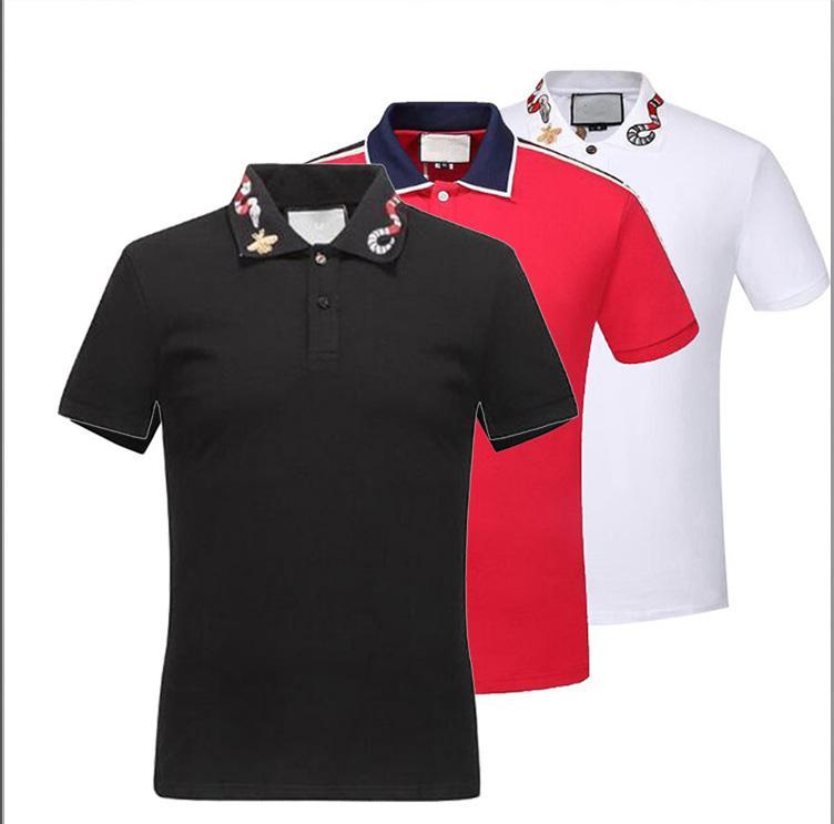 Itália 2020 Hot Europa Mens Stripe Splicing T Shirt de Alta Qualidade Parafuso Linha de Algodão Polo Cópia T Camisetas Designer Casual Tops Tee