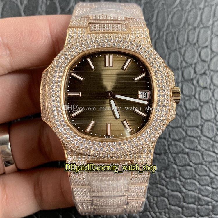 V2 versão de atualização 18K Rose-Gold Diamante-incrustação caso 5711 / 1R-001 Diamantes Brown Dial Cal.324 S C Automatic 5719 Mens Watch para fora congelado Relógios