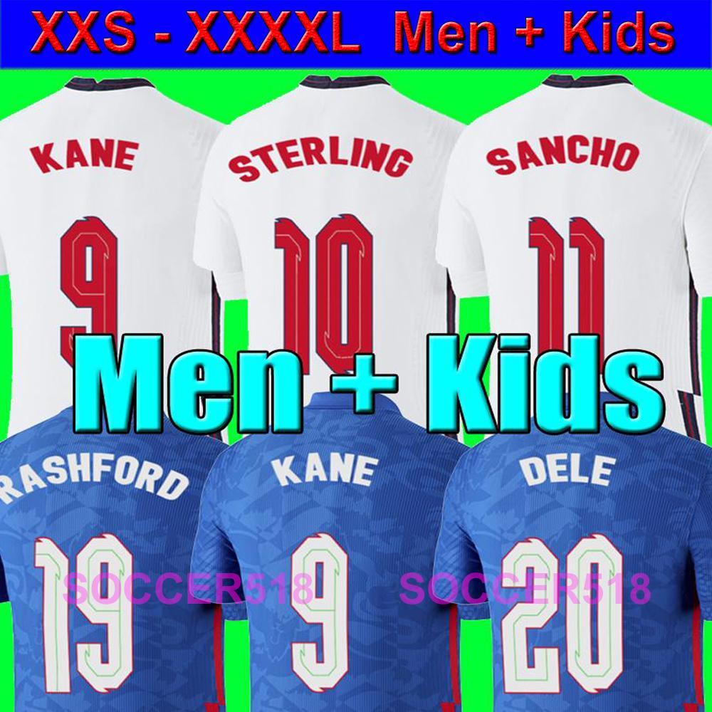 444 4XL Мужчины + Дети STERLING RASHFORD 2020 2021 новый дом белый футбольные рубашки KANE Санчо синий трикотажные изделия футбола STERLING малышей формы XXXXL