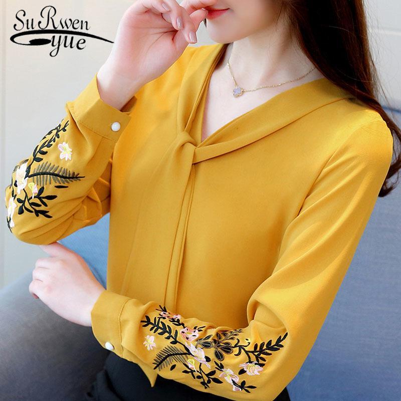 Mujeres de la gasa larga de la manga de la camisa de la blusa de mujer de la manera blusas 2020 camisa de la señora de las mujeres encabeza la oficina blusas blusas femeninas 0547 30 Y200828