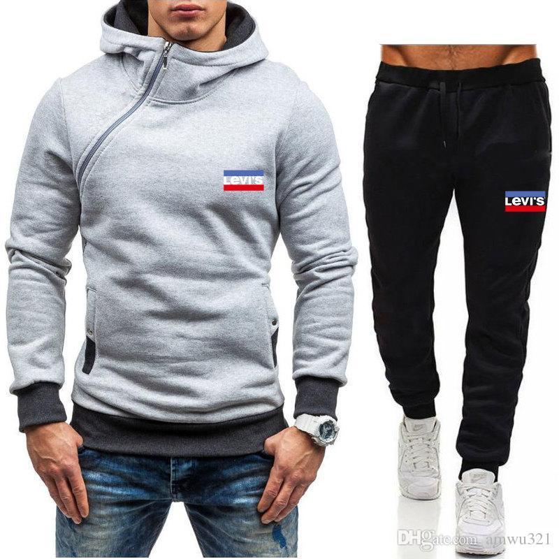 Nuovo Levis Tuta Inverno uomo sportivo con cappuccio cappotto allentato Sweater Mens Tute Zipper set Formato più Coat Pant