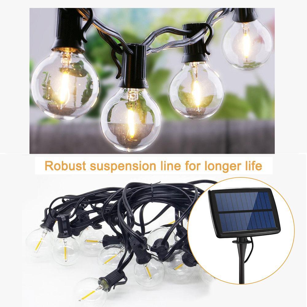 New Globe Solar Luzes Cordas Outdoor 5.5CM Waterproof 10/25 LED luzes de fadas Outdoor LED G40 lâmpadas de iluminação decorativa