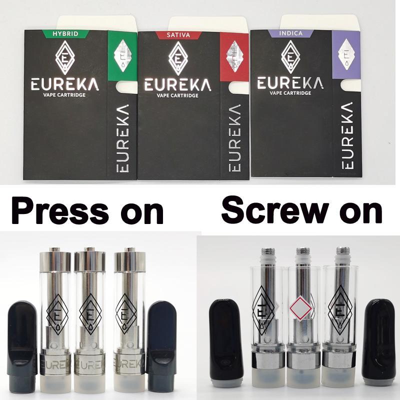 1,0 ml Eureka vaporizadores Vape 510 carros de rosca del tornillo en la prensa en cápsulas de bobina de cerámica 0,8 ml Vacío kits de embalaje a prueba de niños atomizadores Box