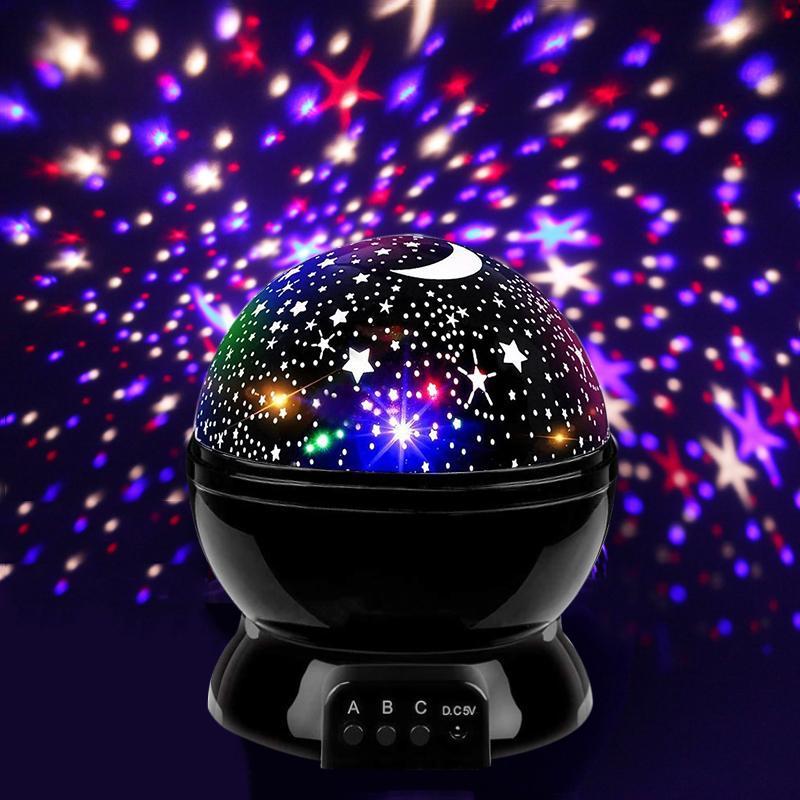 어린이 선물을위한 침실 장식 밤 빛 회전 별이 빛나는 스카이 매직 프로젝터 나이트 라이트 USB LED 밤 램프 램프; 스타 라이트