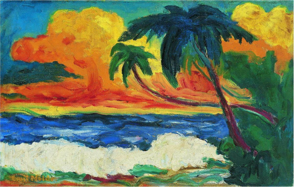 Эмиль Нольде Пальмы на берегу моря Home Decor расписанную HD печати живопись маслом на холсте Wall Art Холст Pictures 7100