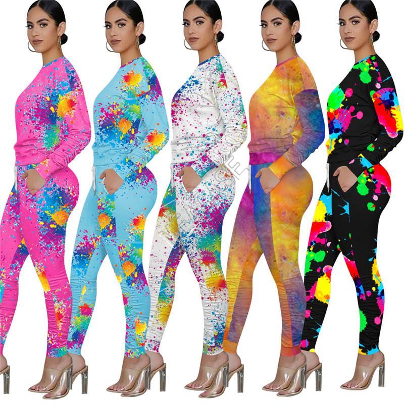Kadınlar İki adet Kıyafetler Graffiti Tozluklar Splash Mürekkep Eşofman Tasarımcılar Moda Batik Spor Suit D92304 Uzun Kollu T Shirt Pantolon yazdır