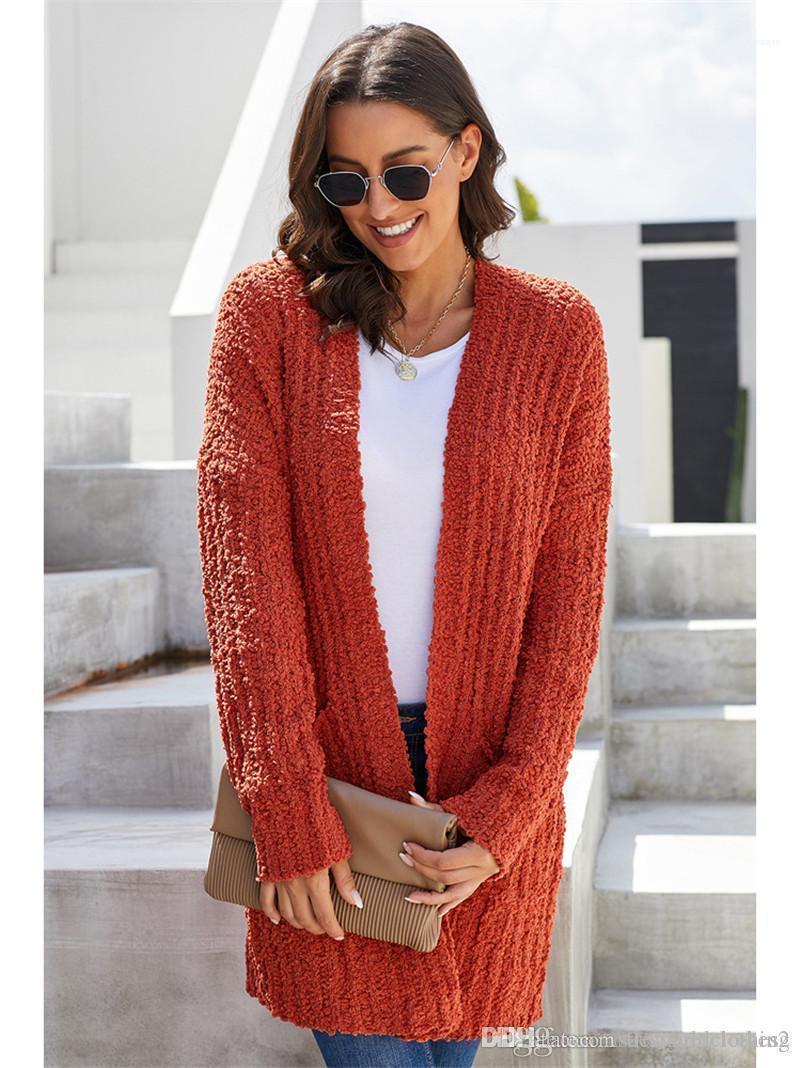 Длинные рукава Повседневной Kniter женских осенних Рождественские красного свитер пальто Сплошных женщины конструктора свитер кардиган способ