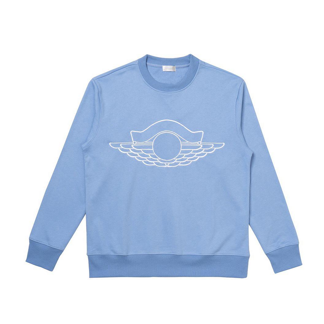 20SS Bordado pulôver simples Sólidos camisola Highstreet Moda HFLSWY361 Homens Mulheres Crewneck comprida feminina Branca Azul New Style