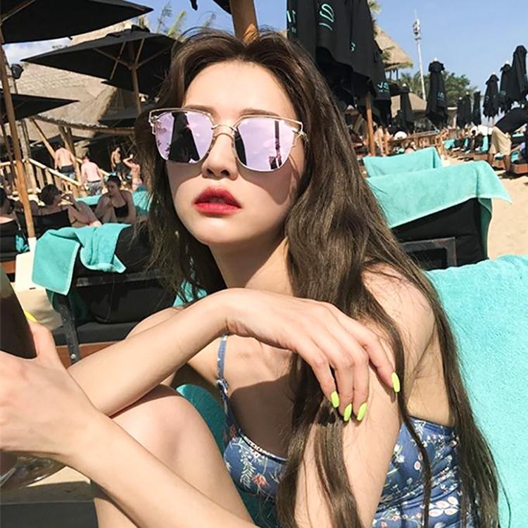 Корейский стиль интернет-знаменитость женской близорукости праздника круглого Стиль пляжа солнцезащитных очков, улица выстрел металл лицо квадратным очки H3yOI